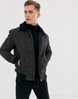 Selected wool flight jacket with removable borg collar-Black