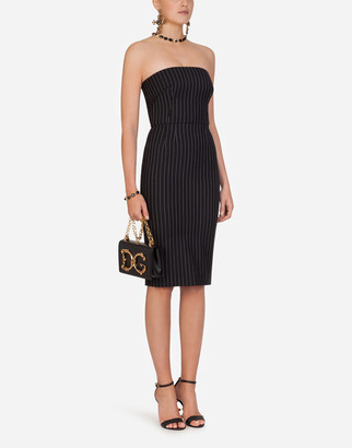 Dolce & Gabbana Woolen Fabric Pinstripe Midi Dress
