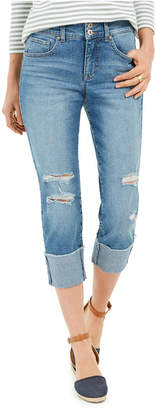 Style&Co. Style & Co Destructed Cuffed Capri Jeans