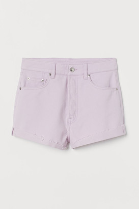 H&M Denim Shorts High Waist - Purple