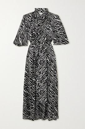 Magda Butrym Pussy-bow Zebra-print Silk-satin Maxi Dress - Black