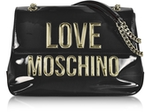 Love Moschino Black Patent Eco Leather Shoulder Bag w/Signature Logo
