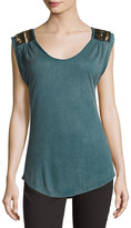 Miss Me Sleeveless V-Neck Embellished Tee, Teal