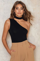 One Shoulder Cropped Jersey Tank