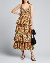Rhode Resort Naomi Smocked Floral Tiered Midi Dress