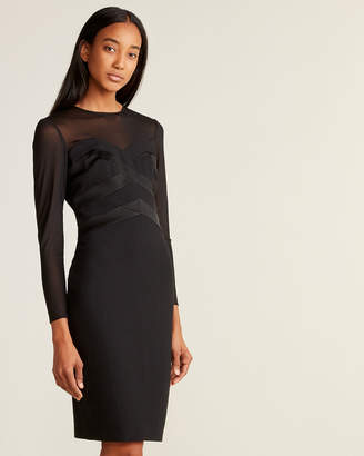 Taylor Illusion Top Sweetheart Sheath Dress