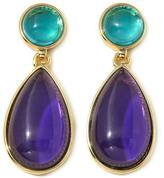 """Roberto by RFM """"Claudia"""" Blue and Purple Cabochon Goldtone Drop Earrings"""