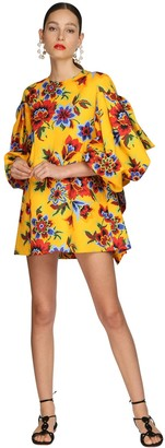 Carolina Herrera Floral Printed Faille Mini Dress