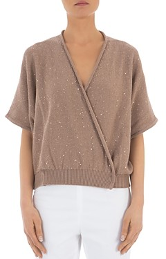 Peserico Sequin Embellished Cotton Wrap Sweater