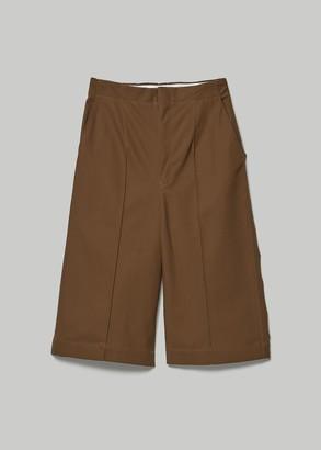 Y's by Yohji Yamamoto Women's Pin Tuck Cropped Pants in Brown Size 1