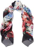 Dolce & Gabbana Floral-print Silk-crepon Scarf - Black