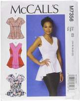 Mccall's M7356 Misses' V-Neck Fit and Flare Tops