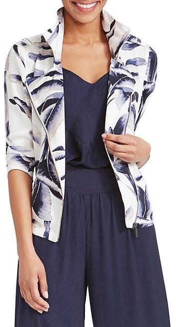 Balakie 2020 Womens Tropical Plants Print Long Sleeve Jacket Zipper Outwear Loose Tops