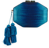 Rafe Sofia Straw Minaudiere, Navy/Turquoise
