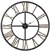 "Lazy Susan Mombaca Metal 28"" Round Wall Clock Black/Gold ;"