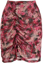IRO ruched floral skirt