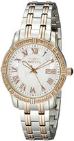 Invicta Women's 14996 Angel Silver Textured Dial with White Mother of Pearl Border Diamond Accented Two Tone Stainless Steel Watch