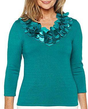 JCPenney Lark Lane 3/4-Sleeve Appliquéd V-Neck Sweater