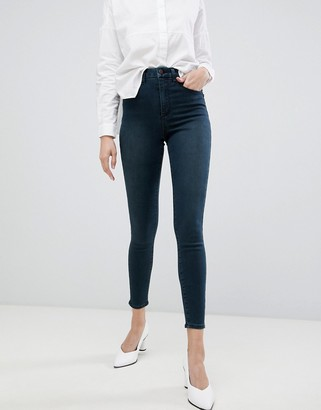 Asos Design DESIGN 'Sculpt me' high waisted premium jeans in blackened green cast-Blue