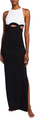 Oye Swimwear Elvan Two-Tone Cutout Column Maxi Dress
