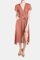 Honey Punch Rust Autumn Wrap Dress