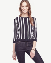 Ann Taylor Striped Ottoman Cropped Cardigan