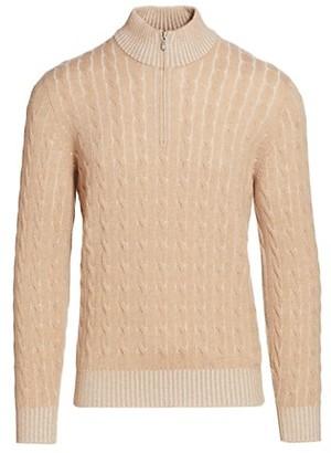 Brunello Cucinelli Vanise Cable Knit Half-Zip Sweater