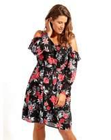 Anne Klein Lovedrobe GB Black Floral Print Dress