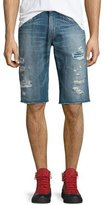 True Religion Ricky Distressed Denim Shorts w/Knit Details, Blue