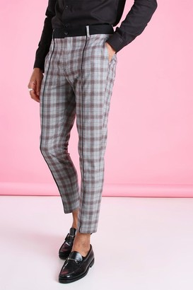 boohoo Mens Grey Super Skinny Check Trousers With Contrast Waistband, Grey