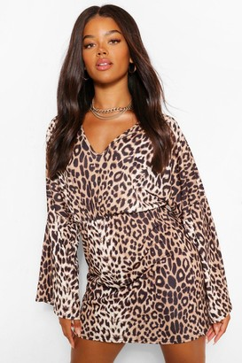 boohoo Leopard Print V Neck Mini Dress