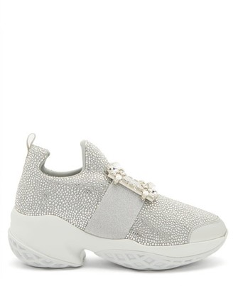 Roger Vivier Viv Run Crystal-embellished Buckled Trainers - Silver