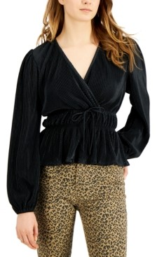 Love, Fire Juniors' Pleated Balloon-Sleeved Top