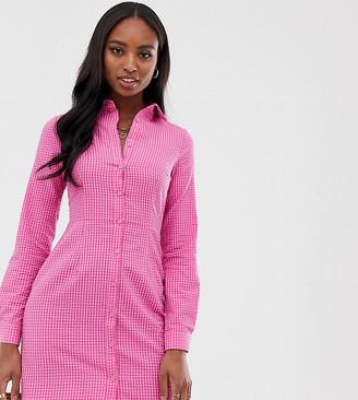 Glamorous Tall long sleeve mini shirt dress in gingham-Pink