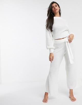 ASOS DESIGN lounge premium knitted wide leg trouser
