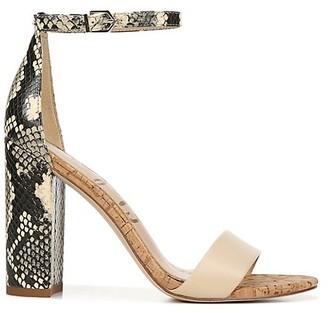 Sam Edelman Yaro Snake-Print Ankle-Strap Leather Sandals