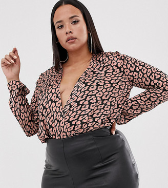 Club L Plus long sleeve wrap front body in animal print