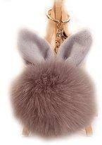 URSFUR Artificial Rabbit Fur Ball Keychain Soft Ears Pompom Key Chain Ring Hook Phone Bag Pendant Toy Beige
