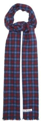 Acne Studios Varney Checked Wool-blend Scarf - Blue Print