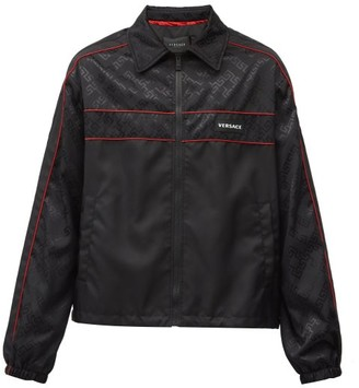 Versace Logo-plaque Shell Jacket - Black Red