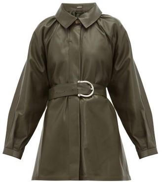 Dodo Bar Or Berry Belted Leather Jacket - Khaki