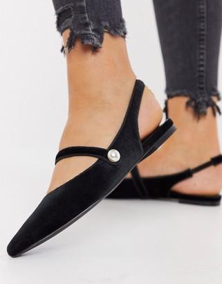 ASOS DESIGN Lacey mary jane slingback ballets in black velvet