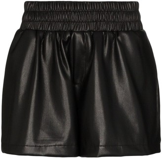 Les Rêveries leather effect shorts