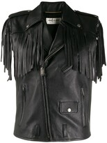 Saint Laurent fringed biker gilet