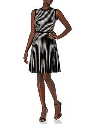 Anne Klein Women's Stripe FIT and Flare Knit Dress