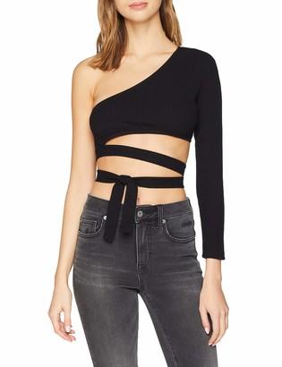 NEON COCO Women's One Sleeve Asymmetric Crop Top Long T-Shirt Black (Negro C10) Medium