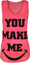 Forever Womens You Make Me Smile Racer Back Neon Vest Top
