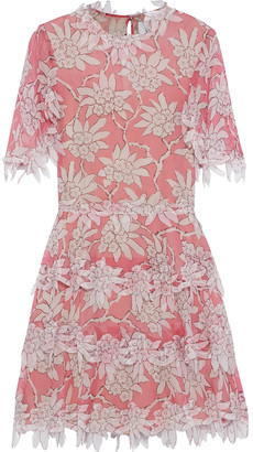 Valentino Appliqued Floral-print Silk-chiffon Dress