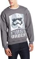 Star Wars Men's VII First Order Stormtrooper Head Grey Long Sleeve Sweatshirt
