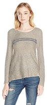 Jolt Women's Long Sleeve Sweater with Stripe Detail